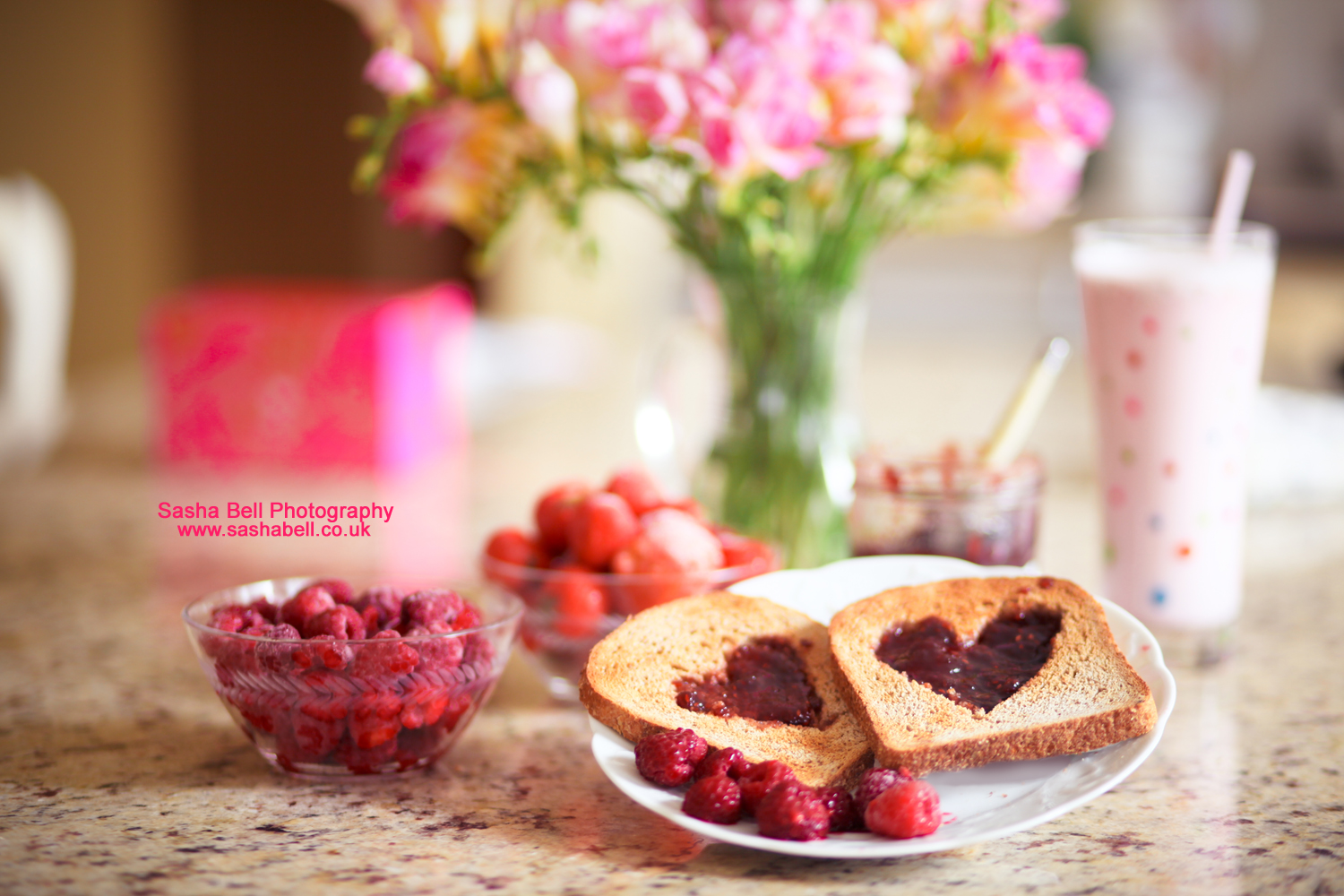 Raspberry Jam Hearts on Toast – Photo Series