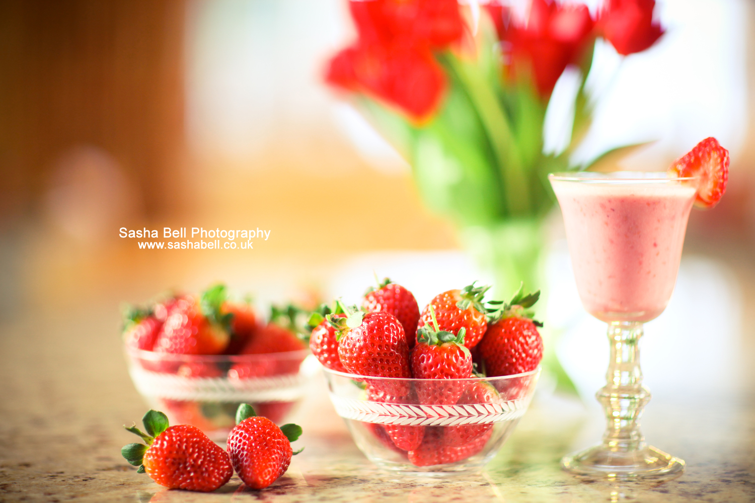 Strawberries and Strawberry Smoothie