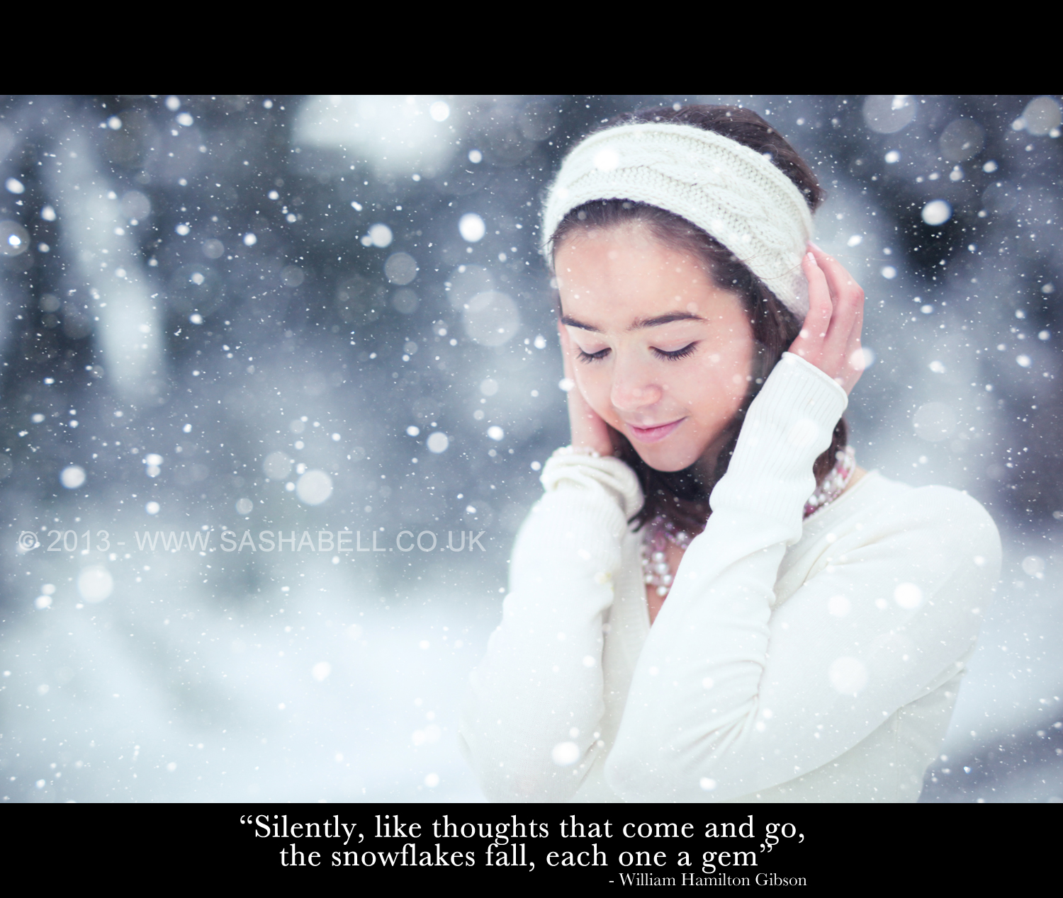 """Silently, like thoughts that come and go, the snowflakes fall, each one a gem"""