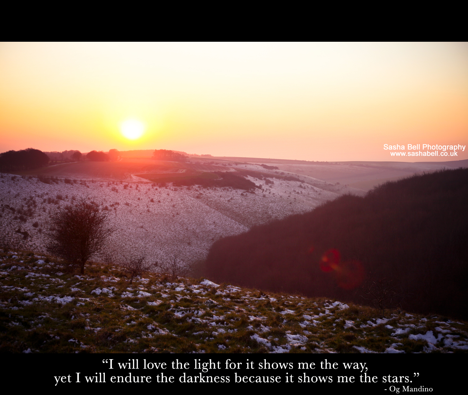 """I will love the light for it shows me the way. yet I will endure the darkness because it shows me the stars."""
