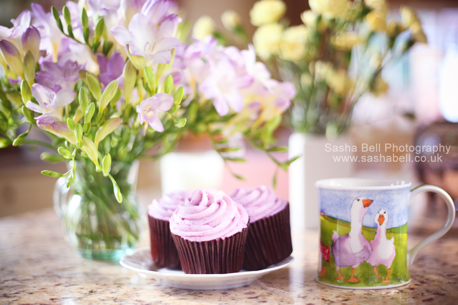 Lilac Cupcake and Flowers